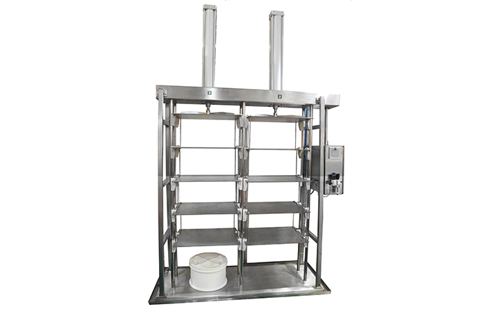 Vertical press for cheese