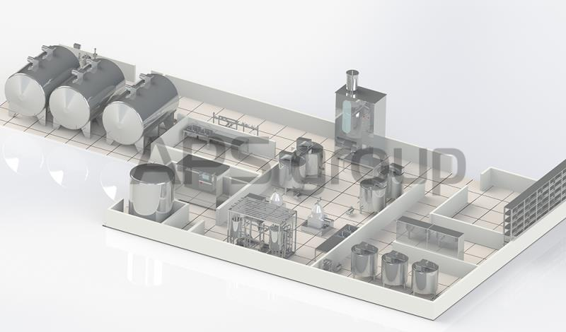 Milk plant with productivity of 10 000 lt per day