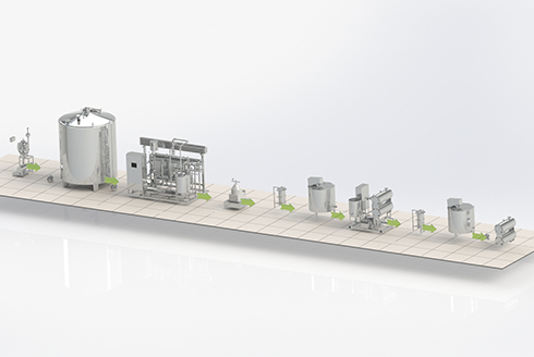 Butter production line by cream churning